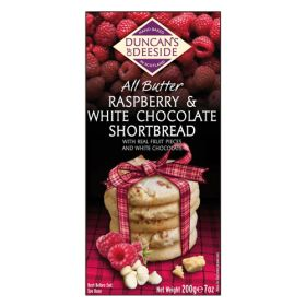 All Butter Raspberry & White Chocolate Shortbread 12x200g