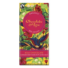 Caramelised Hazelnut & Sea Salt Milk Chocolate 50% - Organic