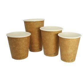 8oz Compostable Brown Kraft Hot Cups 79-series 1x50