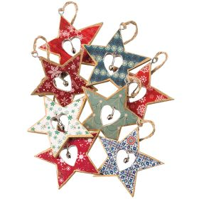 Hanging Printed Wooden Star with Bell Decoration 16x1