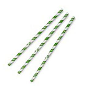 8mm Jumbo Green Stripe Paper Straws 1x200